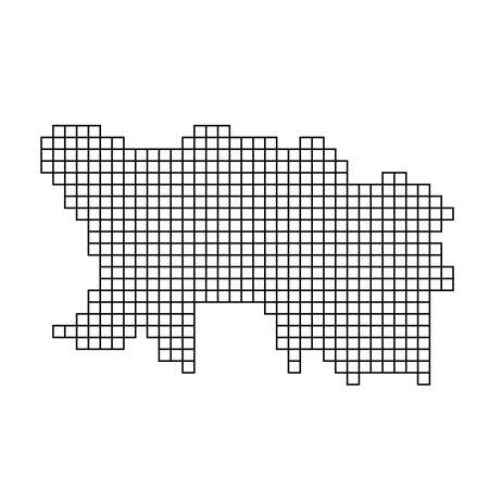 Jersey map silhouette from black pattern mosaic structure of squares. Vector illustration. Illustration