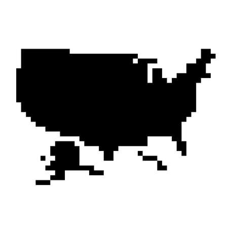 United States, USA map silhouette from black square pixels. Vector illustration. Illustration