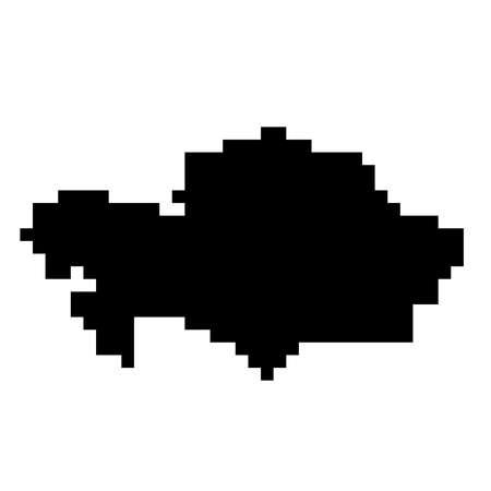 Kazakhstan map silhouette from black square pixels. Vector illustration. Illustration