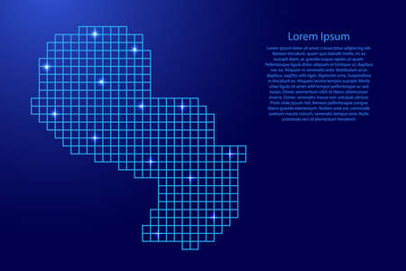 Paraguay map silhouette from blue mosaic structure squares and glowing stars. Vector illustration.