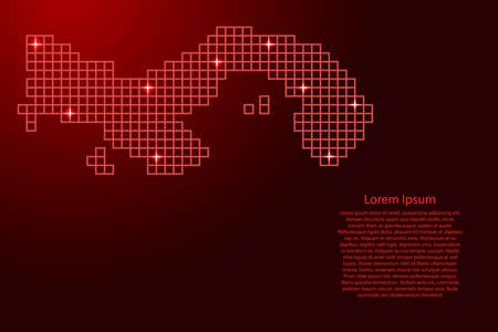 Panama map silhouette from red mosaic structure squares and glowing stars. Vector illustration.