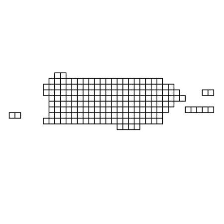 Puerto Rico map silhouette from black pattern mosaic structure of squares. Vector illustration.