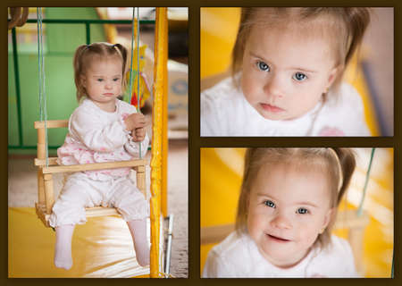 Collage with pictures of emotions of a little girl with Down syndrome