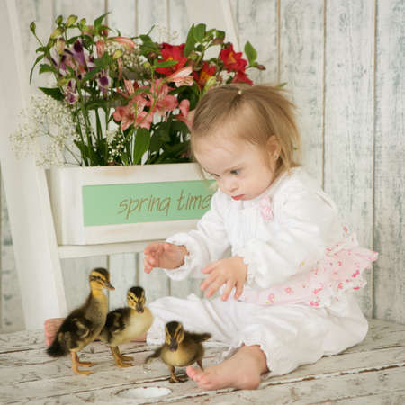 Portrait of a girl with Down syndrome with ducklings Stock Photo