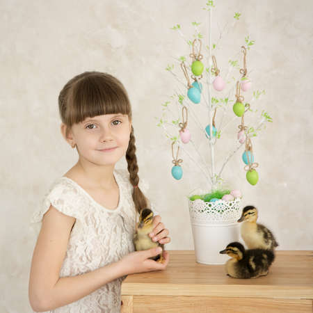 Portrait of a beautiful girl Easter decor