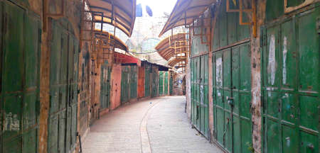 jewry: Abandoned market in Hebron old city, West Bank