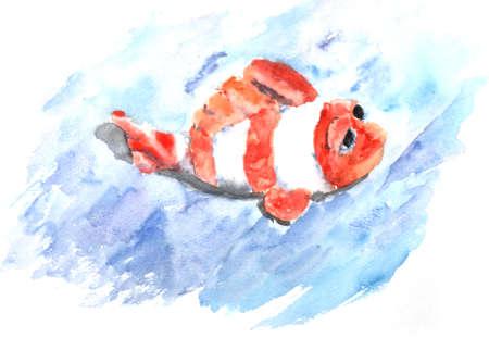 fish toy: giocattolo pesce dipinto in acquerello