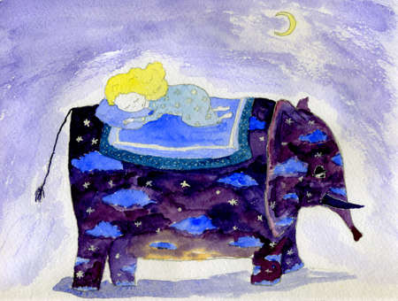 Watercolor illustration of elephant carrying sleepin little girl illustration