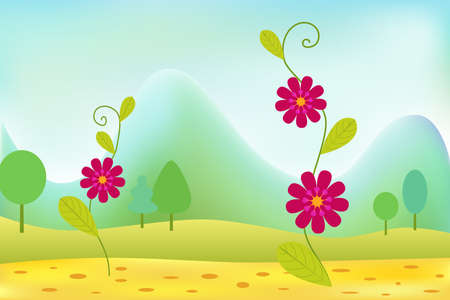 Pink flowers in summer meadow with mountains Vector