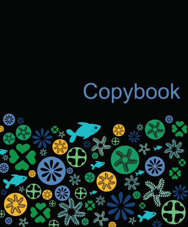 copybook: Copybook cover made of pattern on black