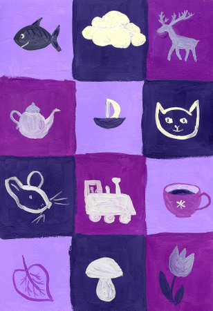 gouache: Blue and violet colored squares with pictures Stock Photo
