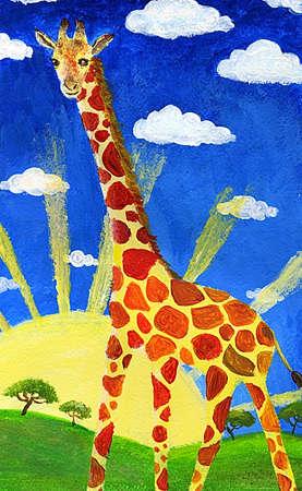 camelopardalis: Giraffe against sky and sun