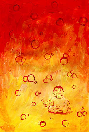 bg: Boy playing with bubbles on red-orange bg