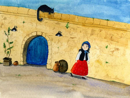 Girl walking against wall looking back at cat photo