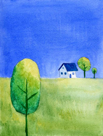 Minimalistic rural landscape with house photo