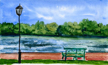 River bank with bench and lamp in watercolor photo