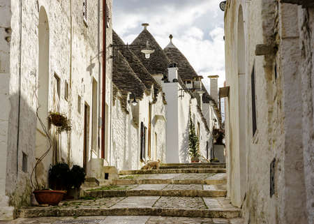 Unique Trulli houses of Alberobello, Puglia region, Italy. Stock Photo