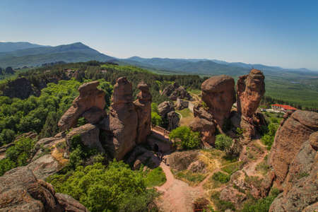 The main entrance to the famous Belogradchik fortress in Bulgaria  스톡 콘텐츠