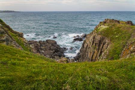 ocean, meadows and cliffs  Horizontal shot