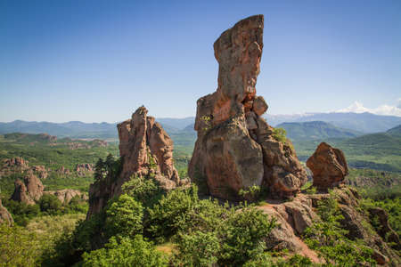 The main entrance to the famous Belogradchik fortress in Bulgaria  Stok Fotoğraf