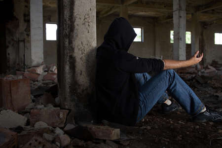 Dark Mood, Psychological Distress, Mental Illness and Addiction themed  Stok Fotoğraf