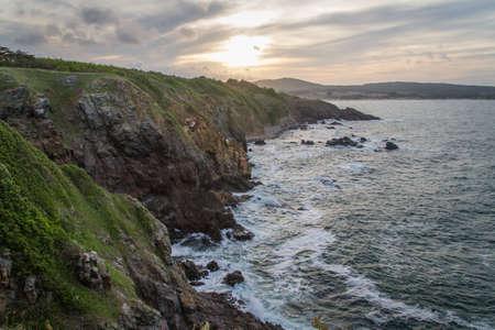 ocean, meadows and cliffs. Horizontal shot