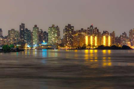 Uptown Manhattan skyline at Night Lights, New York City Foto de archivo