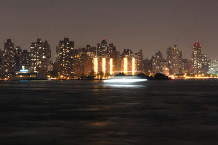 Uptown Manhattan skyline at Night Lights, New York City 写真素材