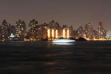 Uptown Manhattan skyline at Night Lights, New York City Banco de Imagens