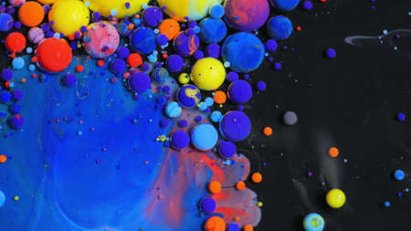 Stream Of Colorful Bubbles Moving On Paint Surface Black Blue Yellow Ink Beautiful 4K Background Wallpaper