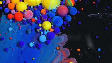 Bright Collors Bubbles Slow Motion Oil Beautiful Paint Surface Red Blue Black And Yellow Universe Of Color Moving Multicolored Macro