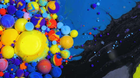 Slow Motion Beautiful Macro Surface Multicolored Red Blue Black And Yellow Bright Collors Paint Bubbles Universe Of Color Moving Oil