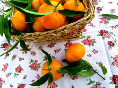 tangerines: basket of tangerines