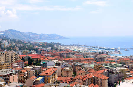 sanremo: city ??of Sanremo in Italy view from the hill