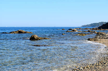 saint tropez: Sea, rocks and beach in Saint Tropez