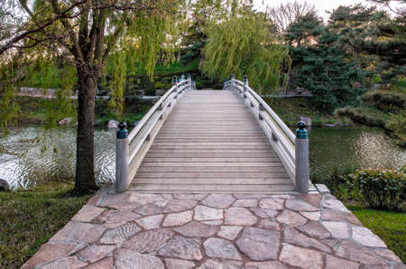 Wooden Bridge in the Chicago Botanical Gardens photo