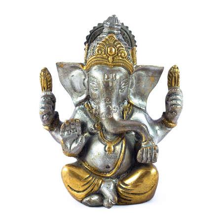 god figure: Hindu God Ganesha over a white background