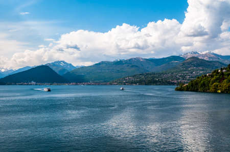 maggiore: View of lake Maggiore from Laveno, Italy  Stock Photo