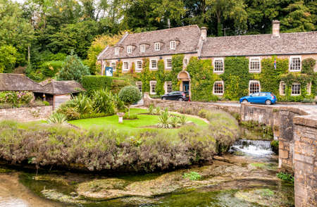 cotswold: Country house hotel in the Cotswold village of Bibury, England Editorial