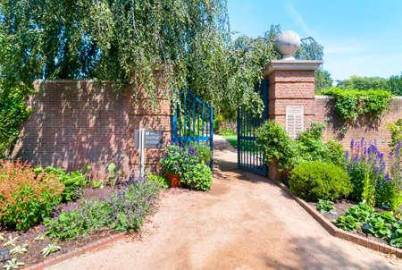 walled: Chicago Botanic Garded, English Walled Garden area Stock Photo