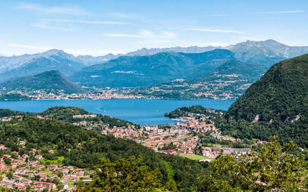 maggiore: Panoramic view of Lake Maggiore and mountain backdrop