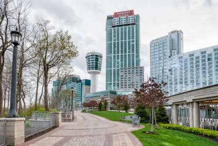 niagara falls city: A view from below of the hotels in Niagara Falls. Embassy Suites and Tower Hotel can be seen. Editorial