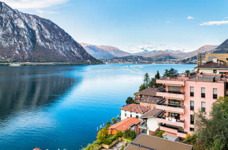 enclave: View over Campione DItalia and Lake Lugano, Italian enclave in Switzerland