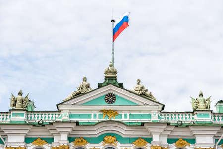 hermitage: Facade of Hermitage Museum - Winter Palace closeup, Saint Petersburg Editorial
