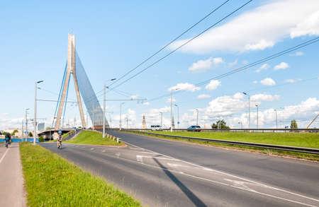 riga: Suspension bridge on the river Daugava of Riga, Latvia
