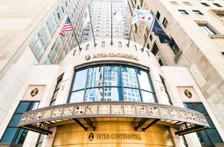 magnificent mile: CHICAGO, UNITED STATES - AUGUST 24, 2014: Facade of InterContinental Chicago Magnificent Mile, is a member of Historic Hotels of America.