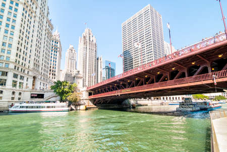 michigan avenue: CHICAGO, UNITED STATES - AUGUST 15, 2014: Michigan Avenue Bridge - DuSable Bridge, is a bascule bridge that carries Michigan Avenue across the main stem of the Chicago River in downtown Chicago. Editorial