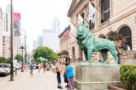 encyclopedic: CHICAGO, UNITED STATES - AUGUST 23, 2014: The Art Institute of Chicago is an encyclopedic art museum located in Chicagos Grant Park at South Michigan Avenue. Editorial