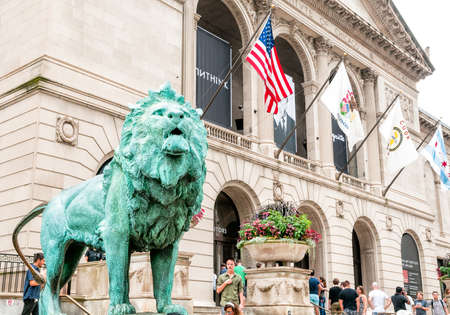 michigan avenue: CHICAGO, UNITED STATES - AUGUST 23, 2014: The Art Institute of Chicago is an encyclopedic art museum located in Chicagos Grant Park at South Michigan Avenue. Editorial