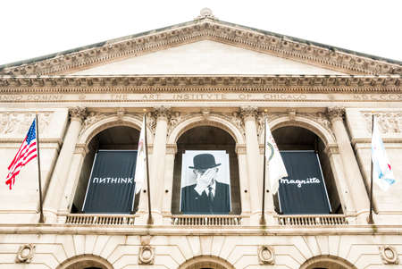 encyclopedic: CHICAGO, UNITED STATES - AUGUST 23, 2014: Facade of the Art Institute of Chicago, is an encyclopedic art museum located in Chicagos Grant Park at South Michigan Avenue.